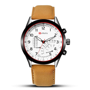 Mens Sports Watches Quartz Leather Band