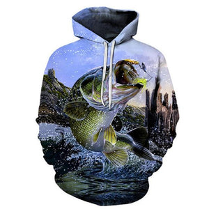 Jumping Bass - 3D High Definition Men's Hoodies