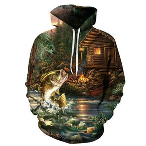 Bass Fishing at the Cabin - 3D High Definition Men's Hoodies