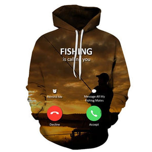 Fishing Cell Phone - 3D High Definition Men's Hoodies