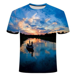 Fishing Digital Fishing T Shirt Sunset on the Lake