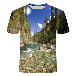 Fishing Digital Fishing T Shirt Mountain Stream