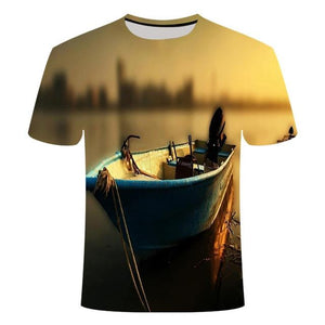 Fishing Digital Fishing T Shirt Boat at Dock