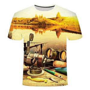 Fishing Digital Fishing T Shirt Poles
