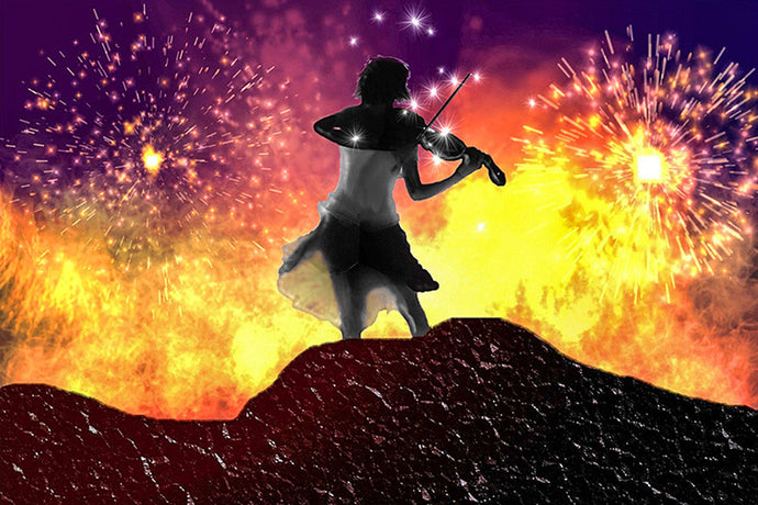 Violin Player in the fireworks