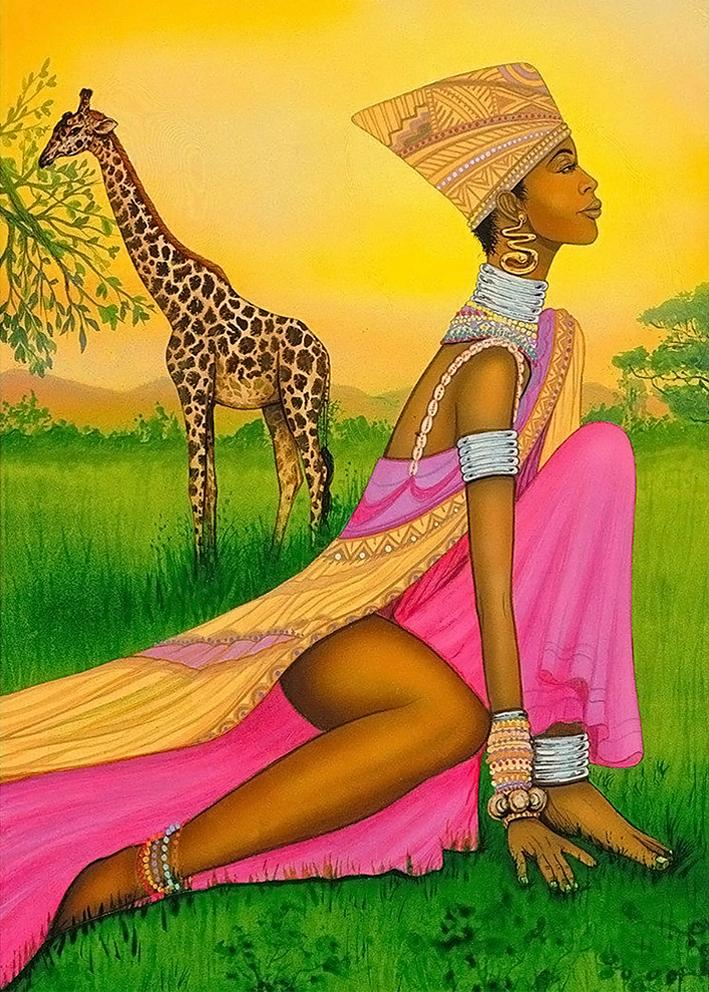 African Woman and Giraffe