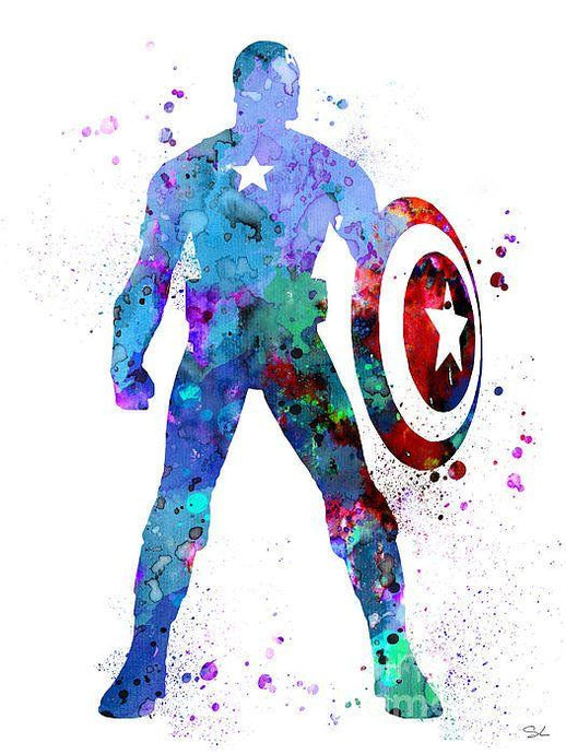Captain America standing  tall and colourful holding sheild