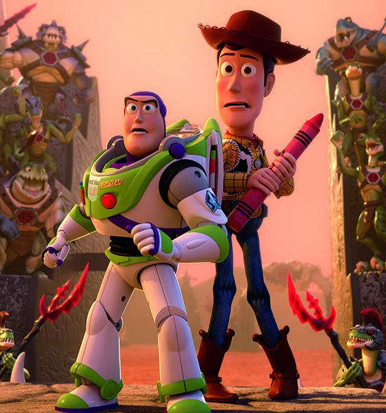 Buzz and Woody in strange background