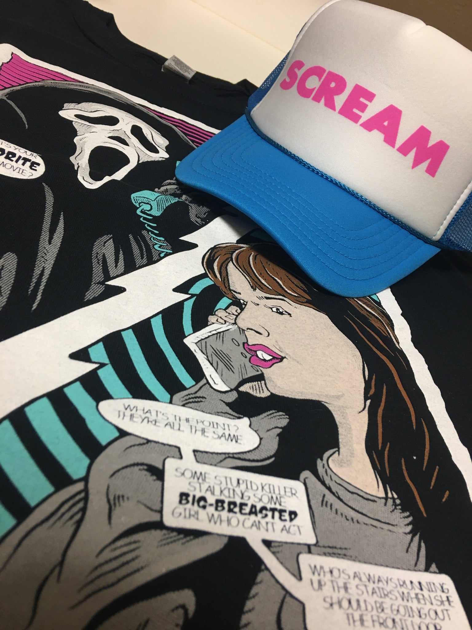 Scream Cap, Blue & Pink