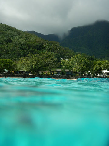 looking at moorea mountains from the blue lagoon