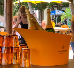 yellow bucket of veuve clicquot champagne