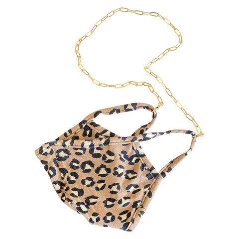 cheetah print face mask with gold mask chain