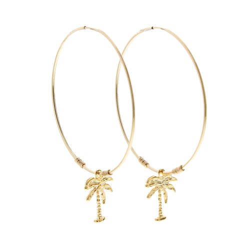 gold palm tree endless hoop earrings