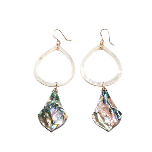 abalone and mother of pearl hoop earrings