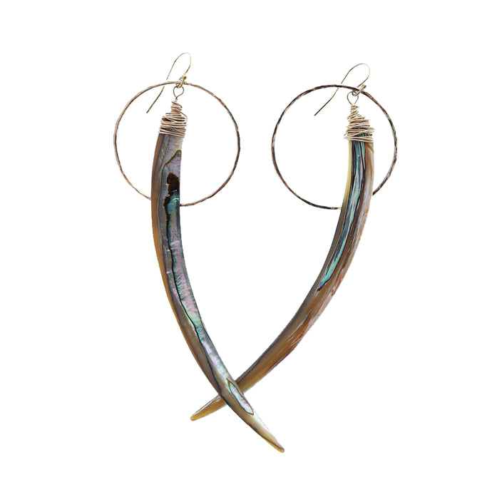 abalone spike gold hoop earrings