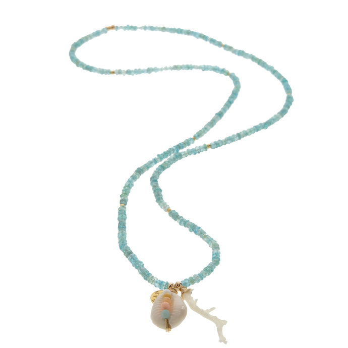 apatite rondelle necklace with gem encrusted cowrie shell