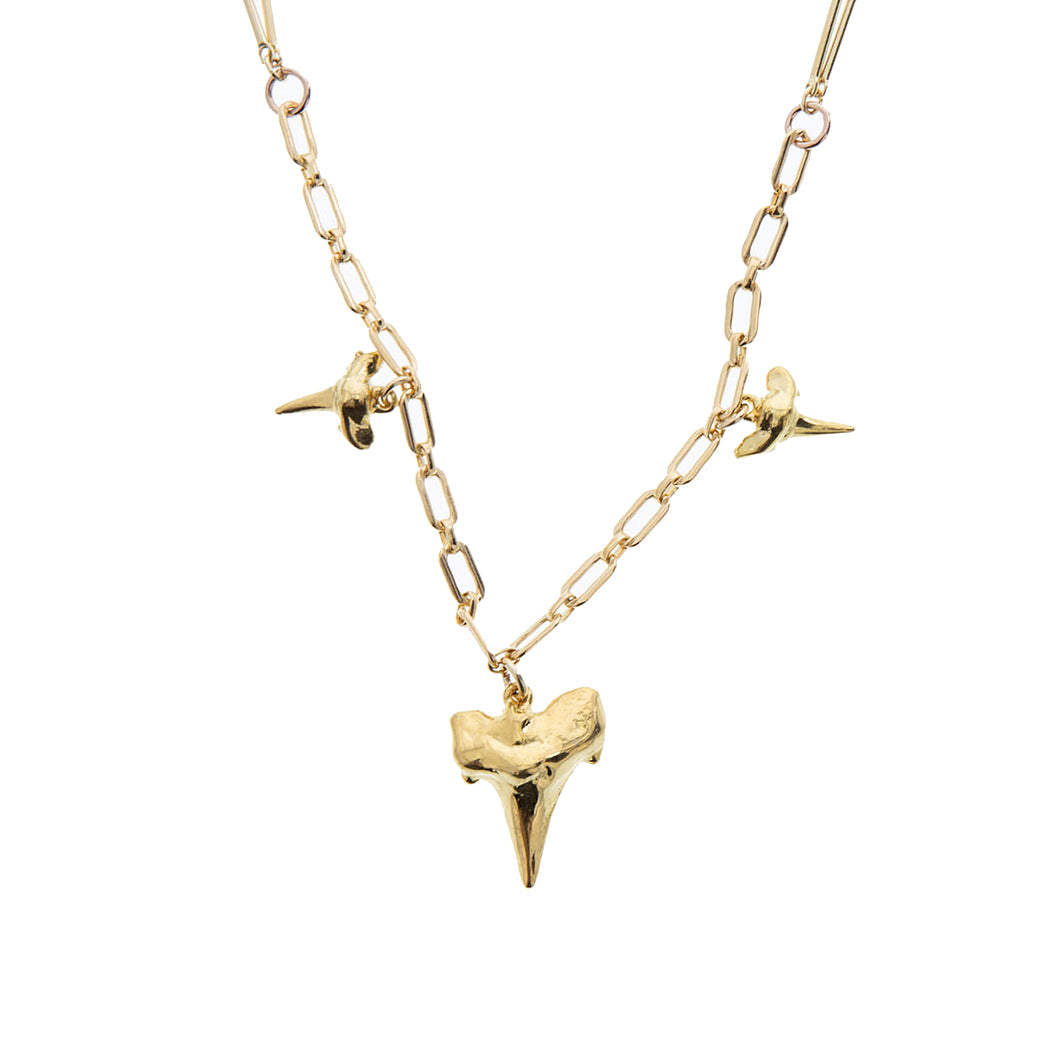 multi layered gold chain with vermeil shark teeth
