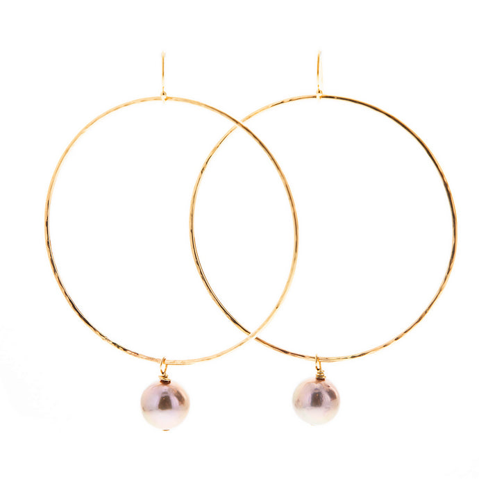 large pink pearl gold hoop ALANA earrings