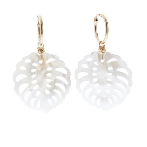 large mother of pearl monstera huggie hoop earrings