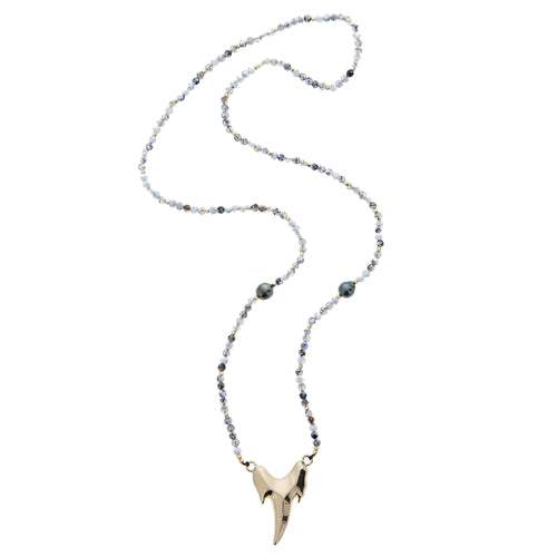 large gold shark tooth Tahitian pearl and gem necklace
