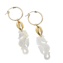 Load image into Gallery viewer, mother of pearl and vermeil cowrie huggie hoop earrings