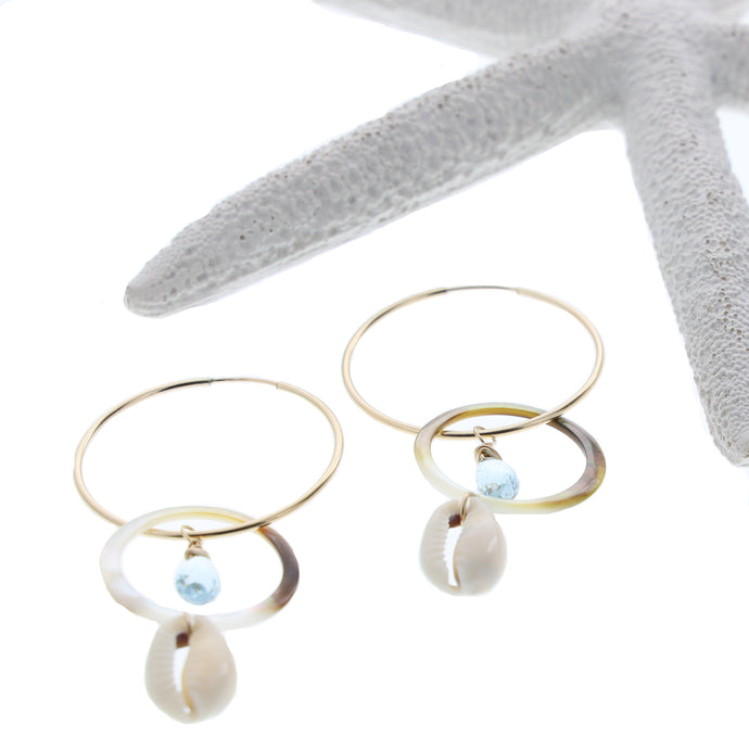 beachy aquamarine and mother of pearl hoop earrings