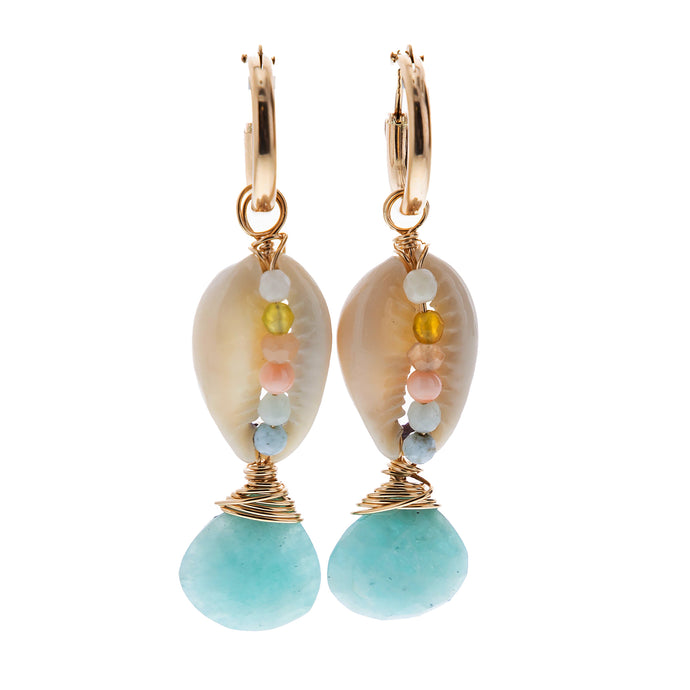 russian amazonite and gem encrusted cowrie shell hoop earrings