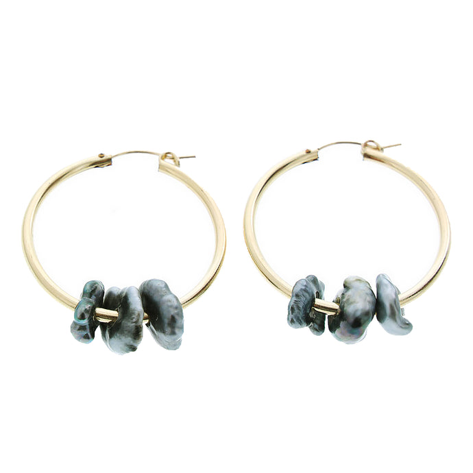 tahitian keshi pearl gold huggie hoop KIKO earrings