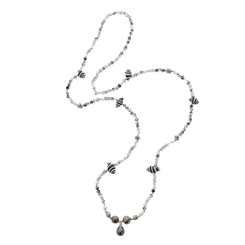 Tahitian pearl shell and gem necklace