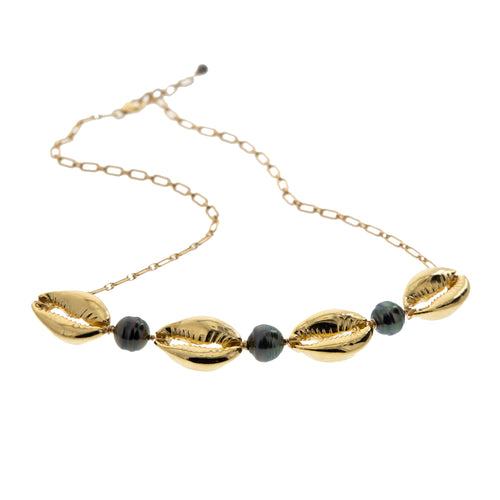 tahitian pearl and gold cowrie adjustable statement choker