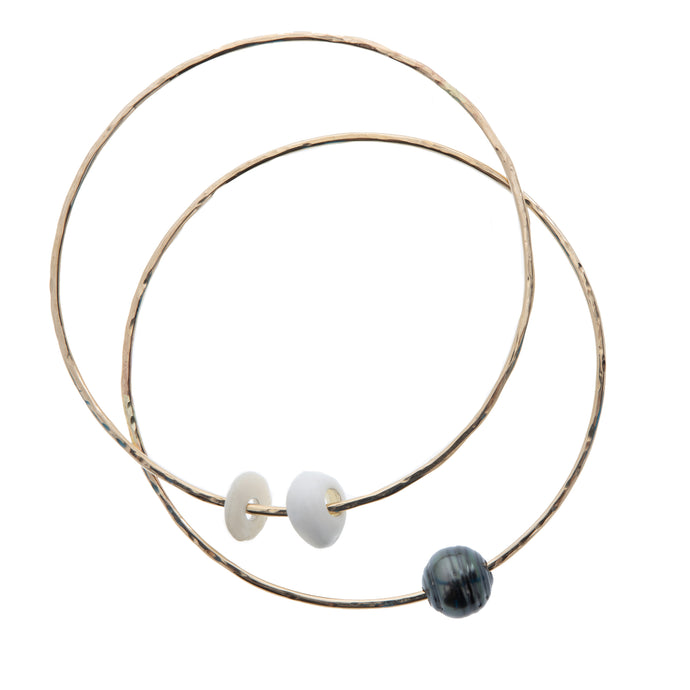 Tahitian pearl and Hawaiian puka shell bangle set