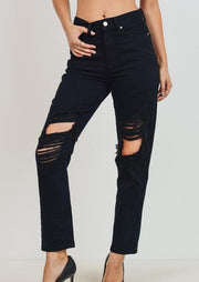 On the Rise Distressed Denim- Black