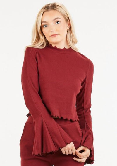 She's a 10 Bell Sleeve Top- Wine