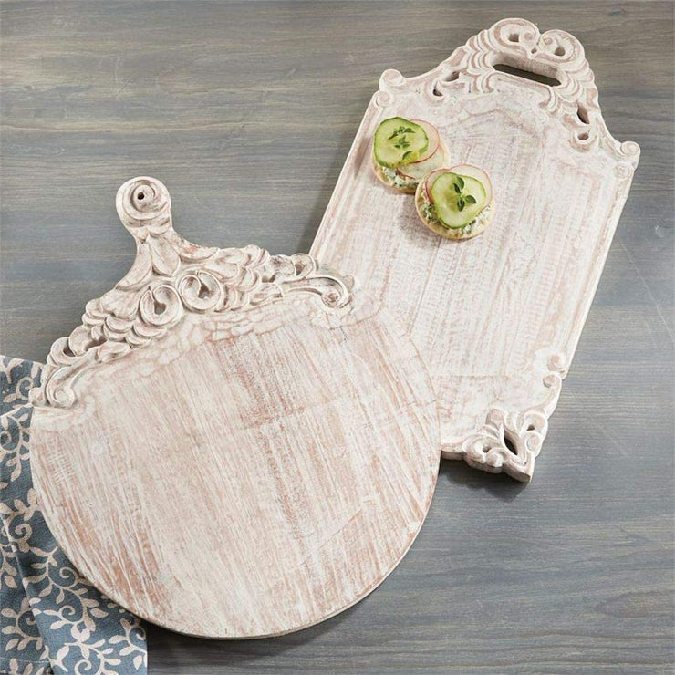 Mud Pie - White Wash Cutting Board (Curbside Pickup Only)