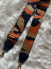 Navy Messenger Bag w/ Orange Camo Strap