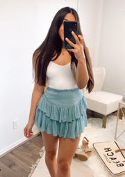 blue smocked skirt