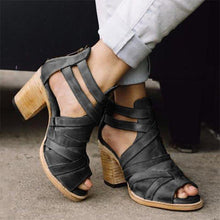 Load image into Gallery viewer, Vintage Buckle Strap Heel Sandals Chunky Heel Sandals