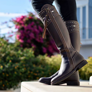 Outdoor Low Heel Leather Block Knee Boots