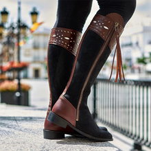 Load image into Gallery viewer, Outdoor Low Heel Leather Block Knee Boots