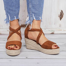 Load image into Gallery viewer, Espadrilles Wedge Sandals Braided Strap Heel Sandals