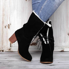 Load image into Gallery viewer, WWomens Lace-Up Chunky Heel Artificial Suede Daily Snow Boots
