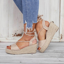 Load image into Gallery viewer, Summer Lace-Up Sandals Espadrilles Wedge Sandals