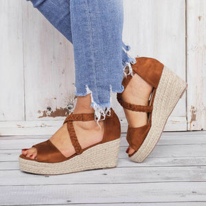 Espadrilles Wedge Sandals Braided Strap Heel Sandals