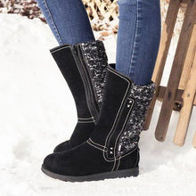 Load image into Gallery viewer, Women's Sweater Snow Boots Flat Heel Knitted Fabric Slip On Boots