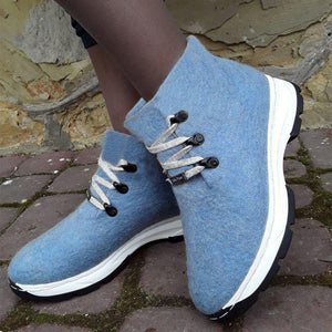 Women Winter Slip-On Lace-Up Woolen Sneakers