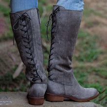 Load image into Gallery viewer, Low Heel Zipper Winter Artificial Leather Boots Knee-High Boots