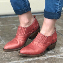 Load image into Gallery viewer, Women Vintage Fall Slip On Chunky Heel Booties