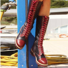 Load image into Gallery viewer, Lace-Up Artificial Leather Low Heel Mid Calf Womens Boots
