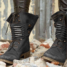 Load image into Gallery viewer, Fashion Chunky HeelLace Up Mid-Calf Boots Womens Casual New Shoes
