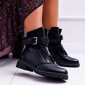 Black Pu Daily Ankle Boots